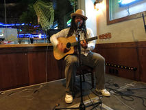 Reggaemusikern Keith Batlin sjunger och spelar gitarren Arkivbilder