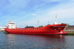 Reggedijk large red cargo boat in Ayr harbor. Royalty Free Stock Photo