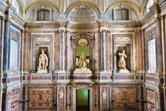 Reggia二卡塞尔塔, 18世纪王宫豪华内部  免版税库存照片