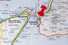 Reggio Calabria Italy On A Map Royalty Free Stock Image