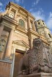 Reggio Emilia - den kyrkliga Basilikan di San Prospero i aftonljus arkivbilder