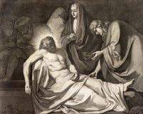 REGGIO EMILIA, ITALIE - 12 AVRIL 2018 : L'enterrement de lithographie de la manière de croix de Jésus en Di Santo Stefano de Chie photos libres de droits