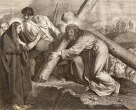 REGGIO EMILIA, ITALIE - 12 AVRIL 2018 : La lithographie Jésus rencontre sa manière croisée de mère en Di Santo Stefano de Chiesa  photo libre de droits