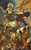 REGGIO EMILIA, ITALIEN - 12. APRIL 2018: Die Malerei der Apotheose des Franziskaner-Francis, Anthony-Heilige lizenzfreie stockbilder
