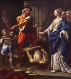 REGGIO EMILIA, ITALIEN - 13. APRIL 2018: Die Malerei der Enthauptung von Johannes der Baptist in Kirche Chiesa-Di Santo Stefano Stockfoto