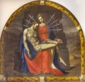 REGGIO EMILIA, ITALIEN - 12. APRIL 2018: Die Malerei von Pieta Madonna von sieben Sorgen in der Kirche Chiesa sterben Cappuchini  lizenzfreies stockfoto