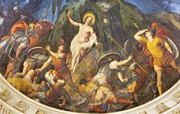 REGGIO EMILIA, ITALIEN - APRIL 13, 2018: Freskomålningen av uppståndelsen i absid av den kyrkliga chiesaen di San Giovanni Evange Royaltyfri Fotografi