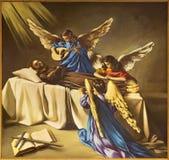 REGGIO EMILIA, ITALIEN - APRIL 12, 2018: Målningen av döden av St Francis av Assisi i den kyrkliga Chiesa deien Cappuchini Fotografering för Bildbyråer