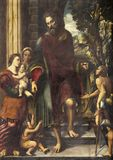 REGGIO EMILIA, ITALIEN - APRIL 13, 2018: Målningen av helgedomen på allmosa i kyrkliga Basilika di San Prospero Royaltyfri Fotografi