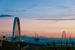 Reggio Emilia, Italien-- Calatrava Brücken an der Dämmerung Stockfotos