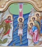 REGGIO EMILIA, ITALY - APRIL 12, 2018: The icon of Baptism of Jesus on the iconostas in church Chiesa di San Giorgio royalty free stock photography