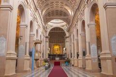 REGGIO EMILIA, ITALY - APRIL 12, 2018: The nave of Dome - Duomo.  royalty free stock photography