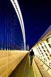Reggio Emilia, Italy - Calatrava bridges at night. Reggio Emilia, Italy - April 06, 2012: famous bridges complex Le Vele by architect Santiago Calatrava at blue Royalty Free Stock Images