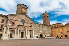 Reggio Emilia, Italy: The Central Square of Reggio Emilia Camillo Prampolini. Reggio Emilia - July 2017, Italy: The Central Square of Reggio Emilia Camillo royalty free stock photography