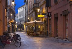 Reggio Emilia - The street of the old town at dusk stock image