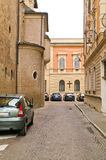 Reggio Emilia. Urban view. Very narrow streets of old city Royalty Free Stock Photography