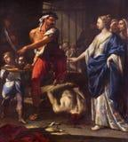 REGGIO EMILIA WŁOCHY, KWIECIEŃ, - 13, 2018: Obraz Decapitation st John baptysta w kościelnym Chiesa Di Santo Stefano zdjęcie stock