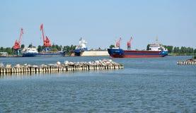 Região de Kaliningrad, Rússia O cargoship de Danubia na área da água do porto foto de stock royalty free