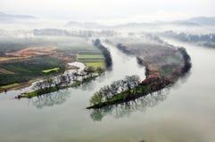 Región con los ríos en sueño Foto de archivo