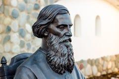 Región de Kaluga, Rusia - marzo de 2019: Monumento al escritor, al etnógrafo y al colector rusos Vladimir Dal del folclore imagen de archivo