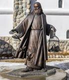 Región de Kaluga, Rusia - marzo de 2019: Monumento a Leonardo da Vinci imagenes de archivo