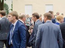 Región de Leningrad - 30 de julio: Sergey Naryshkin Head de la Duma de estado, julio de 2016 89.o cumpleaños Ciudad de Slantsy Ru Imágenes de archivo libres de regalías