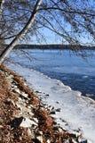 Región de Rusia, Cheliábinsk, monumento de la naturaleza - lago Uvildy Pequeña sección del hielo cerca de la orilla en el día sol fotografía de archivo