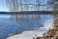 Región de Rusia, Cheliábinsk, monumento de la naturaleza - lago Uvildy Pequeña sección del hielo cerca de la orilla en el día sol imágenes de archivo libres de regalías