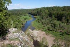Región de Sverdlovsk Rusia Corrientes de los ciervos del parque natural Fotos de archivo