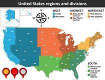 Regiões e divisões do Estados Unidos Fotos de Stock Royalty Free