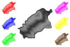 Regi?es de Ar?bia Saudita, reino da regi?o do al-Qassim de Ar?bia Saudita, ilustra??o do vetor do mapa de KSA, mapa de Qassim do  ilustração royalty free