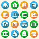 Regierungs-Gebäude-Ikonen flach Lizenzfreies Stockfoto