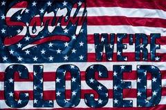 Regierungsabschaltungssymbolismus tut mir leid wir ` bezüglich des geschlossenen Zeichens Stockfotos