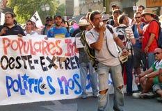 Regierungsfeindliche Demonstration auf Straßen von Madrid, Spanien Stockfotos