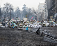 Regierungsfeindliche Proteste in der Mitte von Kiew Lizenzfreie Stockfotos