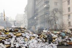 Regierungsfeindliche Proteste in der Mitte von Kiew Lizenzfreies Stockfoto