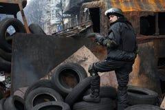 Regierungsfeindliche Proteste in der Mitte von Kiew Stockbild