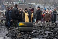 Regierungsfeindliche Proteste in der Mitte von Kiew Lizenzfreie Stockfotografie