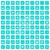 100 Regierungsikonen stellten Schmutz blau ein Stockfoto