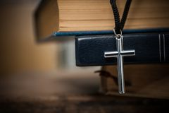 Regilion concept with cross object. christian background.  royalty free stock photo