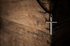 Regilion concept with cross object. christian background.  Royalty Free Stock Images