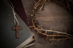 Regilion concept with cross object. christian background.  royalty free stock photos