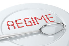 Regime Spoon. And Plate (with the text REGIME Stock Photo