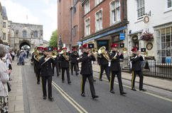 Regimental Band marching in Winchester England UK Royalty Free Stock Images