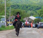 Regimento imortal, parada no dia da vitória com a participação dos alunos e cossacos Foto de Stock