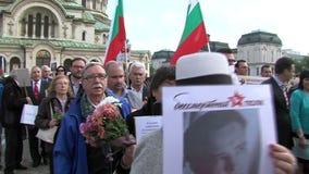 Regimiento inmortal de la acción en el centro de la capital búlgara almacen de video