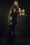 Regina cornuta con la spada Fotografia Stock Libera da Diritti