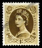 Regina d'annata Elizabeth Postage Stamp Fotografie Stock Libere da Diritti
