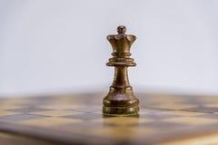 Regina da solo sulla scacchiera, gioco di scacchi Immagini Stock