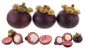 Regina dei frutti, frutta matura dei mangostani del mangostano isolata su w Immagini Stock